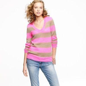 J. Crew Wynter v-neck sweater pink & tan sz SMALL